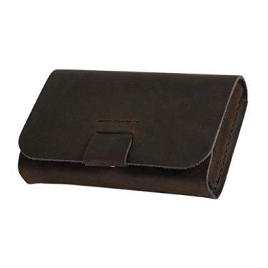 figatia Carteira de Bolso Frontal de Couro Fino Masculino Feminino Porta-moedas Titular Do Cartão de Crédito - Marrom escuro