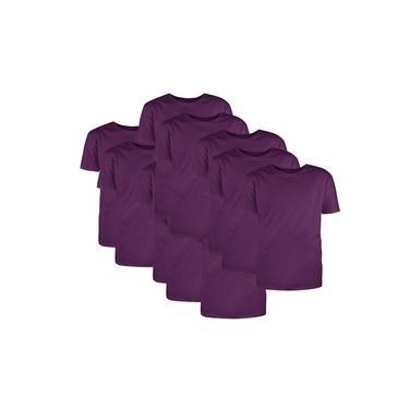 Kit com 10 Camisetas Básicas Algodão Violeta Tamanho M