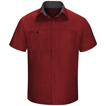 Imagem de Camisa masculina Red Kap manga curta Performance Plus Shop com tecnologia OilBlok, Fireball Red With Charcoal Mesh, 3X-Large/Tall