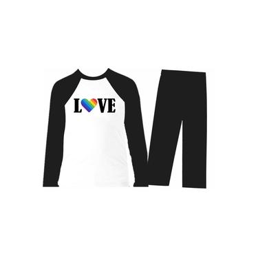 Pijama Infantil Now United - Longo - Inverno - Preto - Love