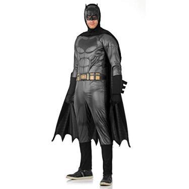 Imagem de Fantasia Batman - Batman x Super Homem Adulto 945890-P, Preto/Cinza, Sulamericana Fantasias