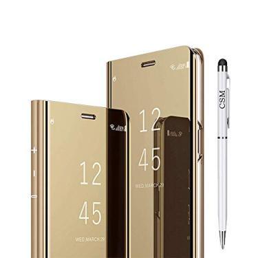 Capa flip espelhada para Galaxy A8 Plus 2018, capa com suporte galvanizado de luxo, capa inteligente com visualização clara com protetor de tela, película flexível de cobertura total para Samsung Galaxy A8 Plus 2018 - (dourado)