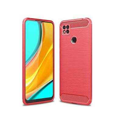 zl one Compatível com/substituição para capa de telefone Xiaomi Redmi 9C Capa traseira ultrafina TPU (Vermelho)
