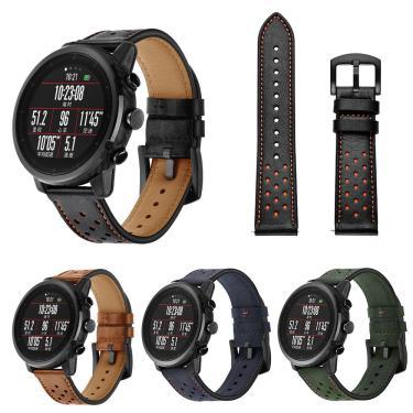 Relógio de substituição de 22 mm Couro Genuíno Banda para Xiaomi AMAZFIT Huami Strato Sports Smart Watch 2 Banggood