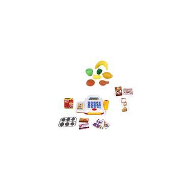 Imagem de Caixa Registradora Infantil Branca Com Mini Mercado E Feirinha, Leitor, Produtos E Dinheiro Para Men