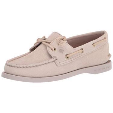 Sapato náutico feminino Sperry A/O Vida Croco, Marfim, 8.5