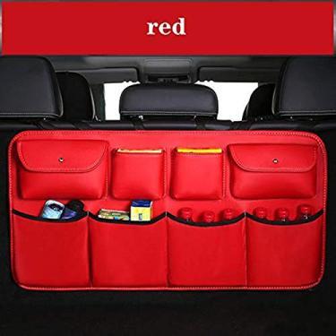 Imagem de JDYH Organizador de botas de carro de couro, bolsa de armazenamento para carro multiuso, organizador de porta-malas, organizador de porta-malas, armazenamento automático, acessórios interiores automáticos, vermelho