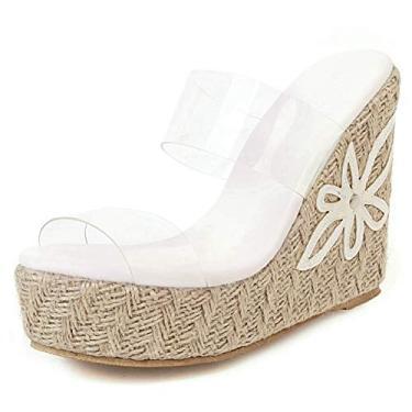 SaraIris sandália anabela para mulheres, sapatos de verão, bico aberto, sapatos sem cadarço, alpargatas, sandálias de salto para meninas e mulheres, Branco, 7