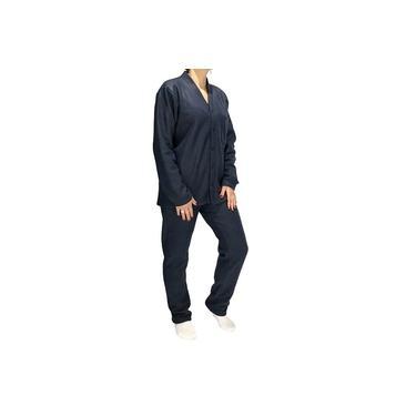 Pijama De Soft Azul Marinho Aberto Com Bolso Adulto