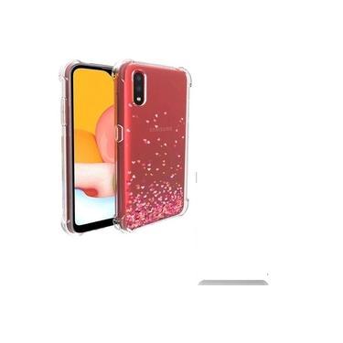 Capa Tpu Samsung Galaxy A01 Chuva De Corações - R&m Acessórios