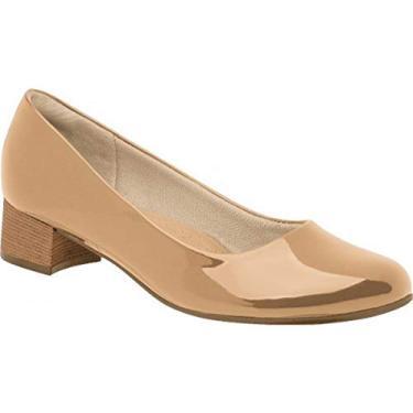 Sapato Piccadilly Salto Baixo Verniz Nude - Creme-Branco Navajo - 37