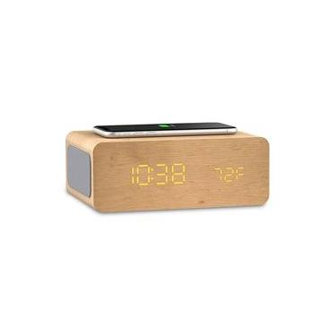 Rádio Relógio com Carregador QI e Bluetooth Ion Charge Time Natural