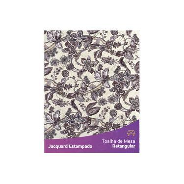 Imagem de Toalha De Mesa Retangular Em Tecido Jacquard Estampado Floral Bege E Marrom