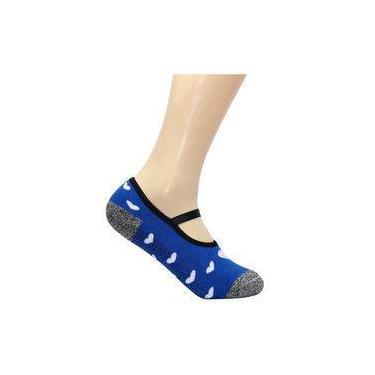 Meia Pilates Feminina Ted Socks - Coração Azul