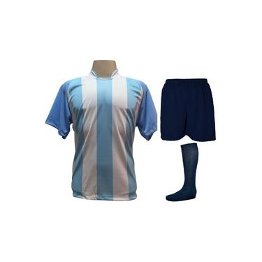 Imagem de Fardamento Completo modelo Milan 18+2 (18 Camisas Celeste/Branco + 18 Calções Madrid Marinho + 18 Pares de Meiões Marinho + 2 Conjuntos de Goleiro) +