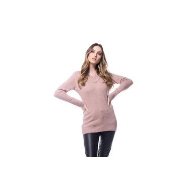 Blusa Maxipull Logan Tricot Feminina Mousse Gola V Rosa Nude