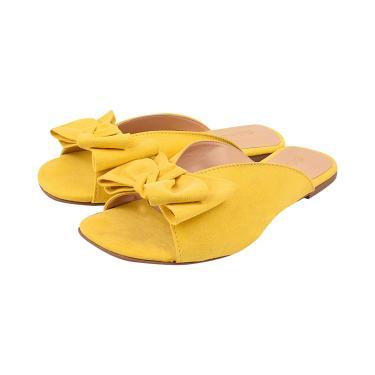 Rasteira PassoChiq Com Laço Suede Referência 022 Amarelo  feminino