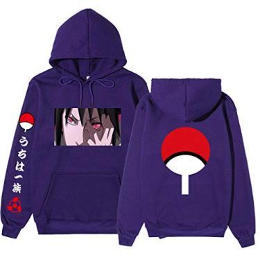Moletom com capuz anime Naruto Teen Pullover Kangaroo Sasuke Hokage Kakashi com estampa de anime para homens e mulheres (roxo, G)