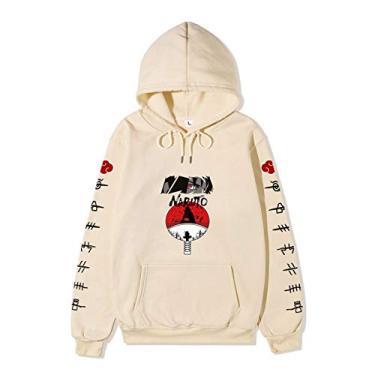 SAFTYBAY Novo moletom com capuz Naruto para homens e mulheres, adolescentes Naruto mangá suéter anime suéteres com bolso frontal grande, Caqui, L