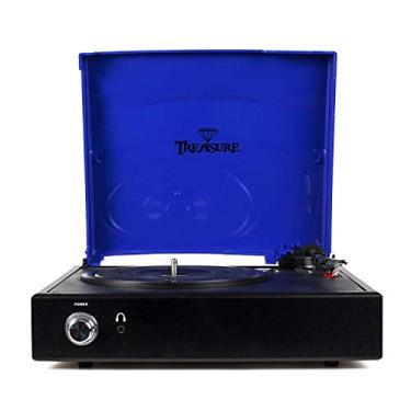 Vitrola Toca Discos Treasure - Blue Royal/Black com software de gravação para MP3
