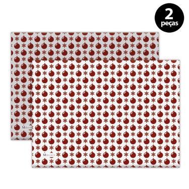 Imagem de Jogo Americano Mdecore Natal Bolas de Natal 40x28 cm Branco 2pçs