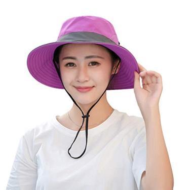 LIOOBO Chapéu Boonie impermeável de aba larga respirável caça pesca chapéu de sol feminino (roxo)