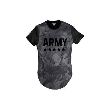 Camiseta Longline Camuflada Army Exército Grafite