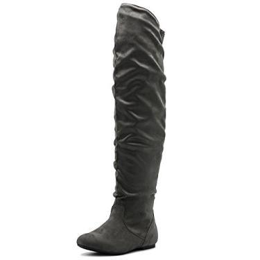 Bota feminina Ollio de camurça sintética ou couro sintético acima do joelho com bota comprida e rugas, Grey-suede, 5.5