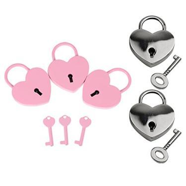 Imagem de Bonarty Conjunto de 4 malas de viagem Love Heart Lock pequena cadeado rosa prata