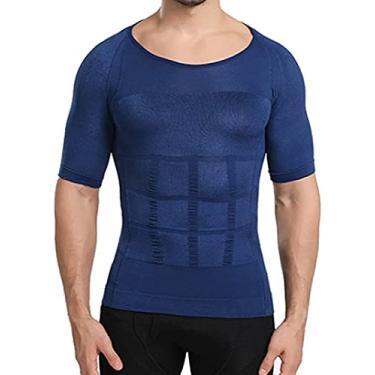 Imagem de Camiseta masculina modeladora refrescante, camisa de compressão modeladora corporal Abs Abdomen Slim (azul, M)