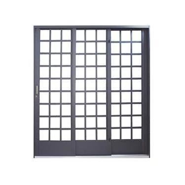 Porta de Correr Quadriculada em Aço 3 Folhas 1 Fixa MGM Carrara 2,15mx1,60m - Requadro 14,5cm Primer Direita
