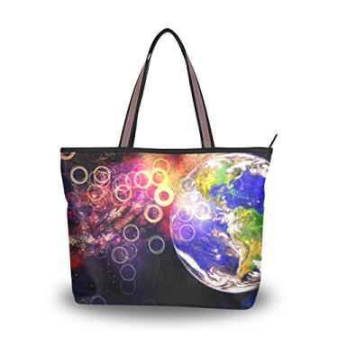 Bolsa de ombro My Daily feminina grande Terra e espaço, Multi, Medium