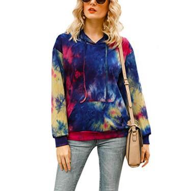 Moletom feminino casual com capuz e estampa floral Hibluco com bolsos, Multicolors, M