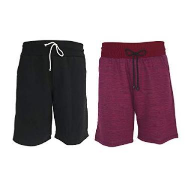 KIT 2 Bermuda Masculina Shorts Moletom Academia Fitness (PRETO-VERMELHO, P)