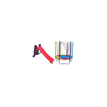 Imagem de Cama Elástica 1,40 Pula Pula Trampolim Premium Com Escorregador Infantil Médio Rosa
