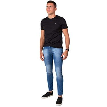 Calça Jeans Sarja Masculina Skinny Slim com Lycra Jeans Claro - 46