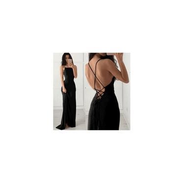 Vestido Feminino Longo De Alça Com Decote Cruzado Nas Costas Preto Festa Gisele Freitas