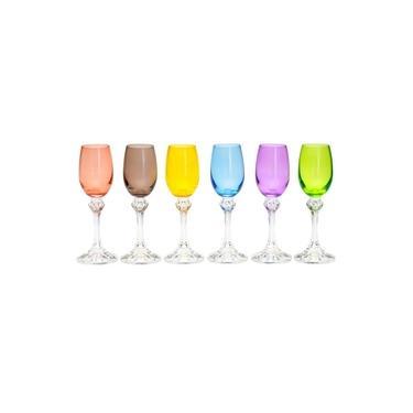 Jogo de Taças para Licor em Cristal Elisa Coloridas - 65ml