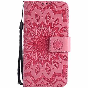 Capa Magna, capa para Volt 2, capa G4c, capa para G4 Mini, capa Dfly-US de couro PU premium macio em relevo design mandala função suporte compartimentos para cartões, capa carteira protetora flip fina para LG, rosa