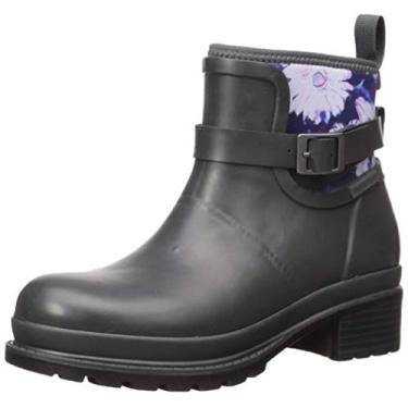 Muck Boot Bota feminina Liberty de borracha no tornozelo, Gray/Floral, 6