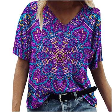 Camiseta feminina de manga curta, casual, solta, com estampa de flores cênicas, gola redonda, plus size, Roxo 01, L