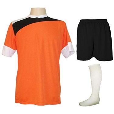 Imagem de Uniforme Esportivo Completo modelo Sporting 14+1 (14 camisas Laranja/Preto/Branco + 14 calções Madrid Preto + 14 pares de meiões Brancos + 1 conjunto de goleiro) +