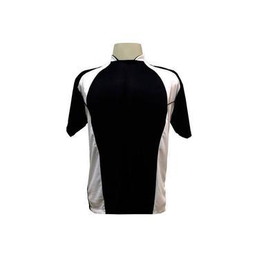 Imagem de Jogo de Camisa com 14 unidades modelo Suécia Preto/Branco + 1 Goleiro +