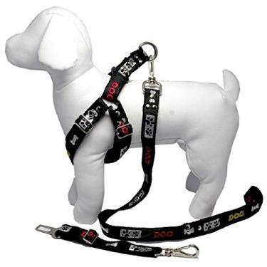 Coleira Peitoral Cachorro Guia Adaptador Cinto Segurança Tamanho P - Cor Preta