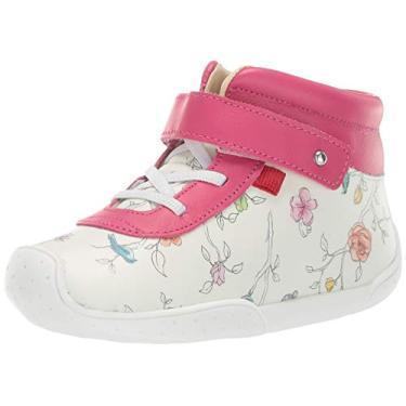 Mocassim Marc Joseph New York infantil de couro para meninos/meninas, feito no Brasil, floral, White Floral/Pink, 4 Toddler