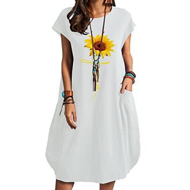 Imagem de SLENDIPLUS Minivestidos femininos de linho, estampado, moderno, gola redonda, casual, bolso, vestido de verão de manga curta, solto, 24 estilos, Estilo D, branco, XXG