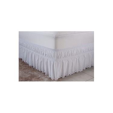 Imagem de Saia Box para Cama Casal Queen Perola Tec. Microfibra Branco