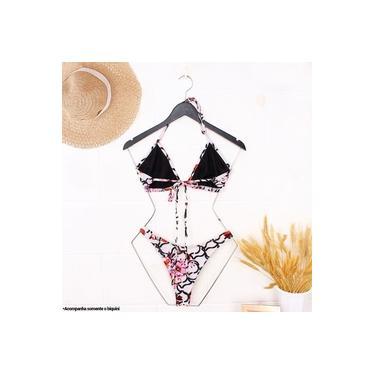 Biquíni Feminino Floral Top Cortininha + Calcinha Asa Delta