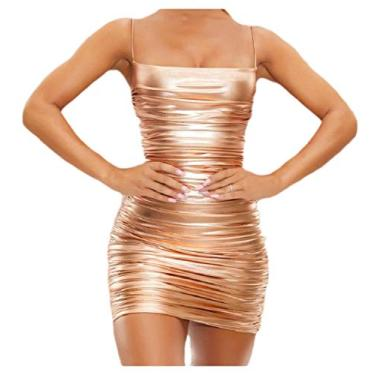 Abetteric – Vestido feminino sexy estilo boate metálico com alça líquida, Dourado, X-Small