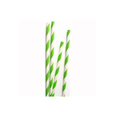 Canudo de Papel Listado Verde com Branco - 25 unidades